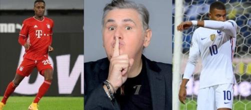 Source montage photo. Pierre Ménès tacle Didier Deschamps sur la sélection de Kylian Mbappé et le compare à Bouna Sarr