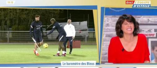La situation d'Olivier Giroud provoque un fou rire sur le plateau de l'équipe d'Estelle. Source: capture d'écran