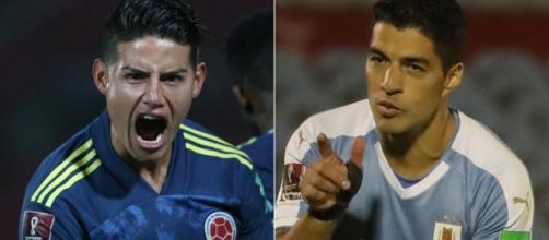 James Rodríguez e Suaréz são as principais estrelas na partida entre Colômbia e Uruguai. (Fotomontagem)