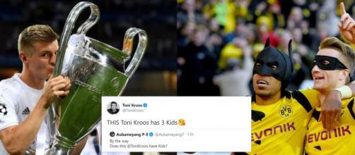 Le clash entre Toni Kroos et Aubameyang continue, les twittos se font la guerre. Source Photo Montage
