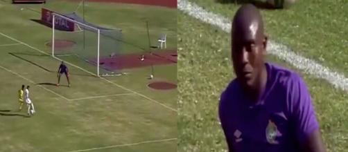 Riyad Mahrez auteur d'un but phénoménal avec l'Algérie face au Zimbabwe. (Montage photo).