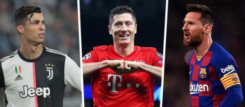 Cristiano Ronaldo, Lewandowski e Messi são os maiores artilheiros de suas seleções. (Fotomontagem)