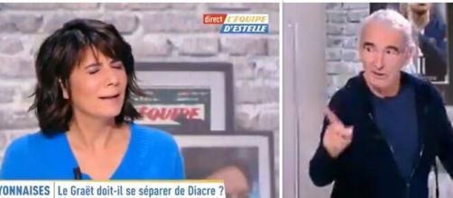 Raymond Domenech insulte les bleues de 'connes', Estelle Denis choquée. Source: Montage Photo