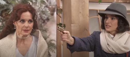 Il Segreto trame Spagna: Marta torna alla Villa, Rosa minaccia Isabel con un'arma da fuoco.