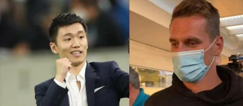 Nella foto il presidente dell'Inter Zhang e la punta del Napoli Milik.