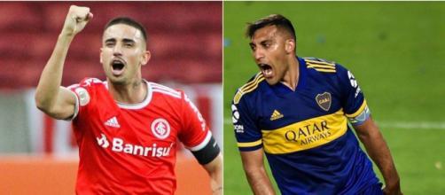 Thiago Galhardo e Salvio são as principais esperanças de gols entre Internacional e Boca Juniors. (Fotomontagem)