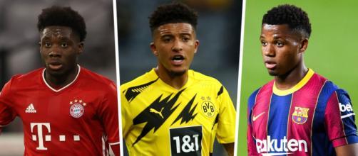Davies, Sancho e Ansu Fati aparecem como os jovens mais valiosos do futebol mundial, de acordo com o CIES. (Fotomontagem)