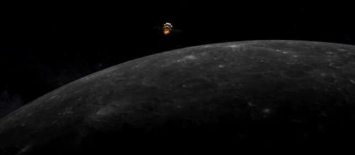 Imitazione artistica di Chang'e 5 nell'orbita lunare.