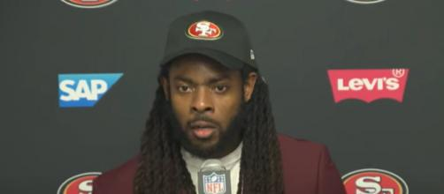 Sherman played several times against Brady. [Image Source: San Francisco 49ers/YouTube]