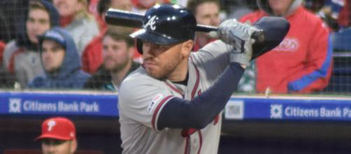 Freddie Freeman taking an at-bat at Citizens Bank Park. [image Source: Ian D'Andrea/Wikimedia Commons]