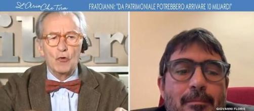 Vittorio Feltri e Nicola Fratoianni (tratta da video de L'aria che tira su La7.it)