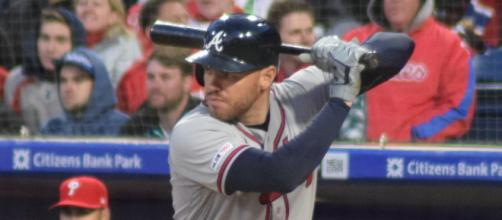 Freddie Freeman played in all 60 games slashing .341/.462/.640 with 13 HR, 53 RBI, 73 hits. [© Ian D'Andrea-Wikimedia Commons]
