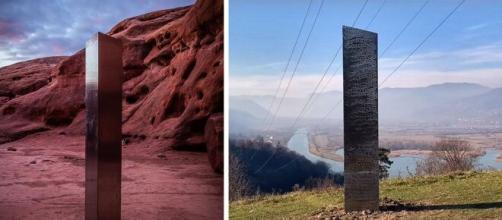 Le monolithe découvert dans l'Utah (gauche) et celui de Roumanie (droite). ©Patrick A. Mackie/Capture vidéo YouTube