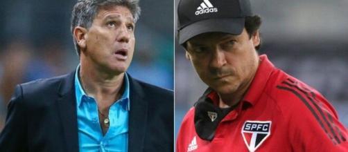Renato Gaúcho e Fernando Diniz fazem duelo a parte entre Grêmio x São Paulo pela Copa do Brasil. (Arquivo Blasting News)