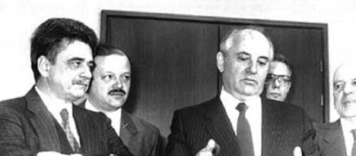 Achille Occhetto e Mikhail Gorbaciov.