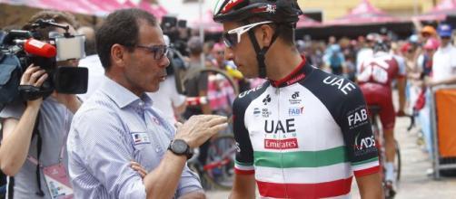 Il Ct Davide Cassani con Fabio Aru.
