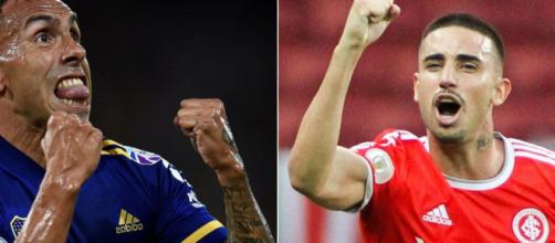 Tevéz e Thiago Galhardo são as principais esperanças de gols para Boca Juniors e Internacional. (Fotomontagem)