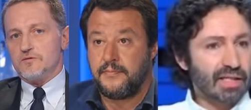 Massimo Giannini, Matteo Salvini ed Antonio Socci.