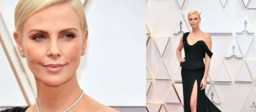 Charlize Theron abito nero lungo per gli Oscar 2020.