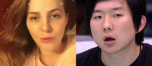 Comissária de bordo acusada Pyong Lee de chantagem. (Reprodução/TV Globo)