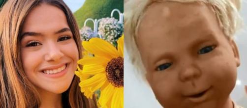 Maisa em clique nas redes sociais ao lado de print da boneca mostrada no Twitter. (Fotomontagem)