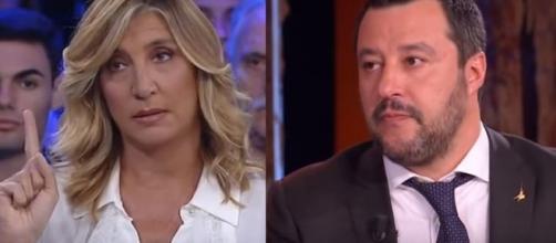Myrta Merlino e Matteo Salvini.