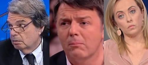 Renato Brunetta, Matteo Renzi e Giorgia Meloni.