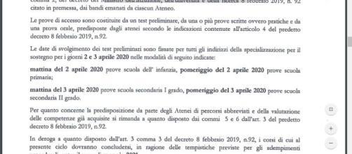 Decreto 95/2020 avvio V ciclo Sostegno