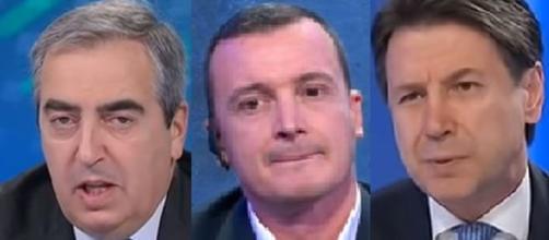 Maurizio Gasparri, Rocco Casalino e Giuseppe Conte.