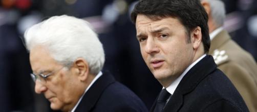 Sergio Mattarella insieme a Matteo Renzi