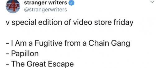 Nella lista settimanale del Video Store Fridays gli autori di Stranger Things 4 hanno inserito film il cui filo conduttore è l'evasione