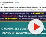Professora foi gravada e teve áudio exposto na página do MBL de Vinhedo. Foto: https://www.facebook.com/watch/?v=597854580686503.