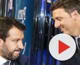 Matteo Salvini e Matteo Renzi durante la sfida tv a Porta a Porta