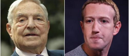 George Soros a sinistra, Zuckerberg a destra.