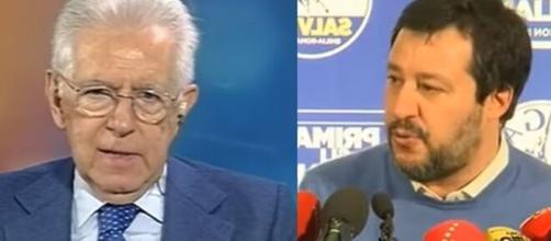 Mario Monti e il leader della Lega Matteo Salvini.