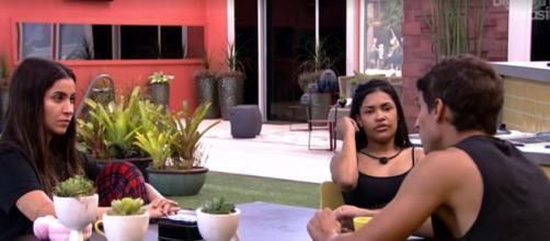 Felipe conversa com Flay e Bianca sobre o 'BBB20'. (Reprodução/TV Globo)