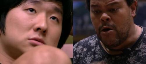 Babu foi até Pyong Lee para parabenizar e deixar claro que não odeia o participante. (Reprodução TV Globo)