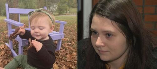 Mother of missing baby claims she is pregnant and can't take polygraph. (image via wjhl.com/Youtube)
