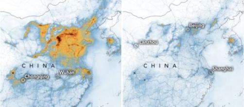 La Cina si ammala e l'inquinamento diminuisce: immagini della NASA.