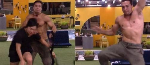 Petrix coloca a mão em Pyong durante corrida, e hipnólogo cai em disputa para atender o Big Fone, do 'BBB20'. (Reprodução/TV Globo)