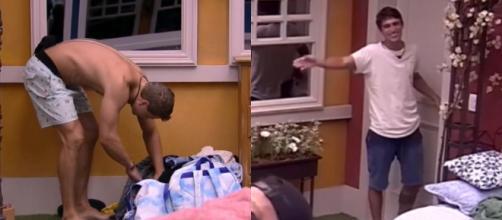 Lucas procura respostas em mala de Daniel e Felipe vigia a porta. (Reprodução/TV Globo)