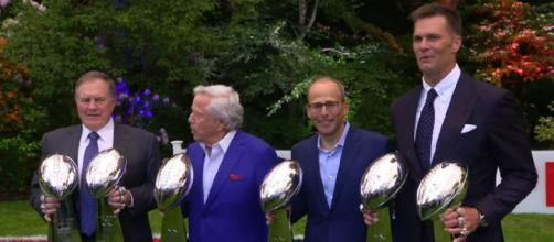 The Patriots are eyeing a seventh Super Bowl trophy. [Image Source: New England Patriots/YouTube]