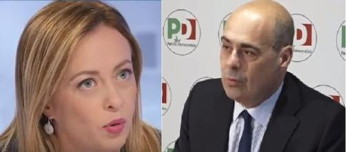 Botta e risposta tra Nicola Zingaretti e Giorgia Meloni.