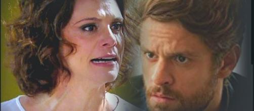 Em 'Amor de Mãe', Lídia pode ter sua intimidade exposta por Tales. (Foto Montagem/Globo)