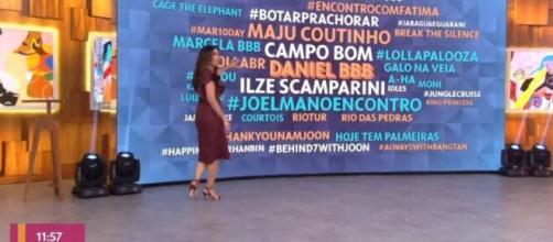 Fátima Bernardes contorna o ocorrido com Daniel no programa Encontro. (Reprodução/TV Globo)