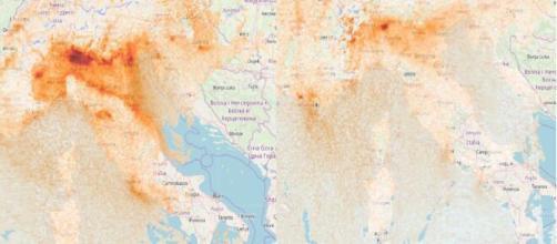 Fotografia satellitare, 14 febbraio 2020 vs 8 marzo 2020: la nube di inquinamento si restringe.