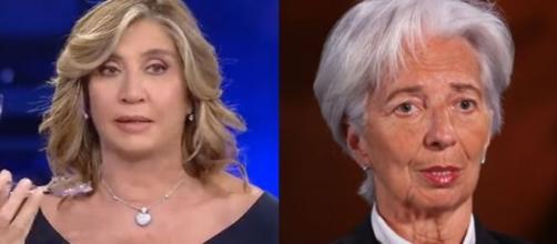 La giornalista Myrta Merlino e la presidente della Bce Christine Lagarde.