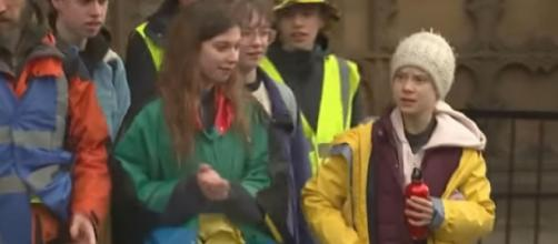 Greta Thunberg joins climate strikers in Bristol. [Image source/Channel 4 News YouTube video]
