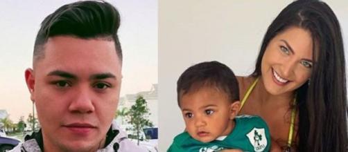 Caroline Marchezi e Felipe Araújo são pais do pequeno Miguel. (Reprodução/Instagram/@felipearaujocantor/@carolmarchezi)