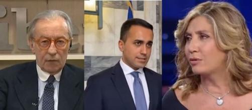 Vittorio Feltri, Luigi Di Maio e Myrta Merlino.